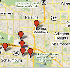 Find buildings nearby that already have fiber optic service available.